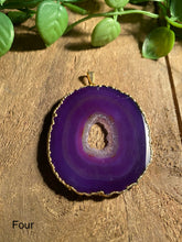 Load image into Gallery viewer, Purple Agate pendant with Gold Electroplating - necklace