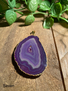 Purple Agate pendant with Gold Electroplating - necklace
