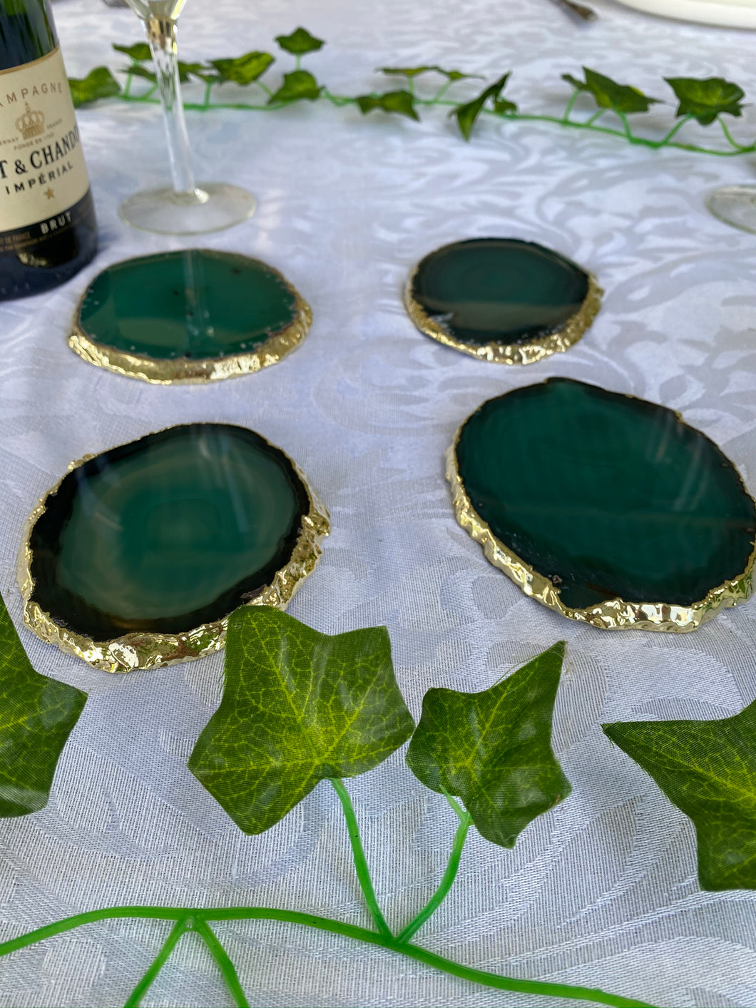teal agate slice drink coasters with gold electroplating 2