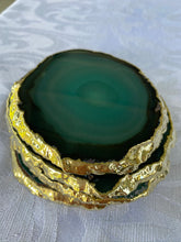 Load image into Gallery viewer, teal agate slice drink coasters with gold electroplating 2