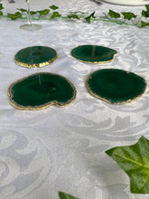 Load image into Gallery viewer, Teal coloured polished Agate Slice drink coasters with Gold Electroplating - Set of 4