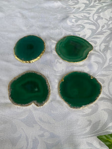 teal coloured agate slice drink coasters with gold electroplating