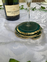 Load image into Gallery viewer, teal coloured agate slice drink coasters with gold electroplating