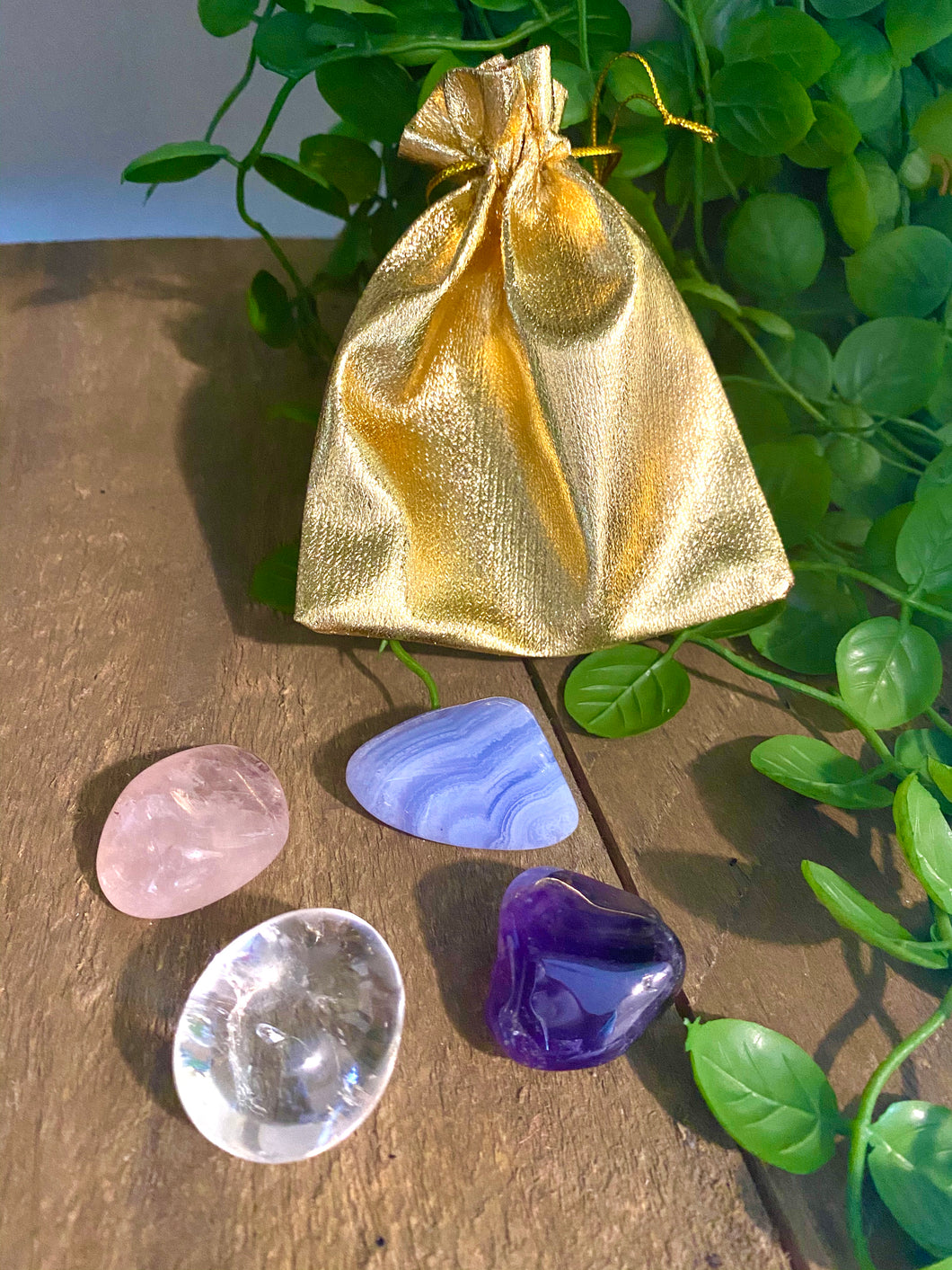 Tumbled stones gift pack - Rose Quartz, Blue Lace Agate, Clear Quartz and Amethyst