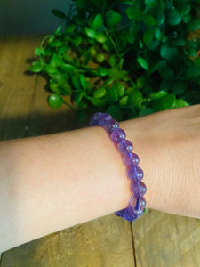 Warm purple amethyst bead bracelet