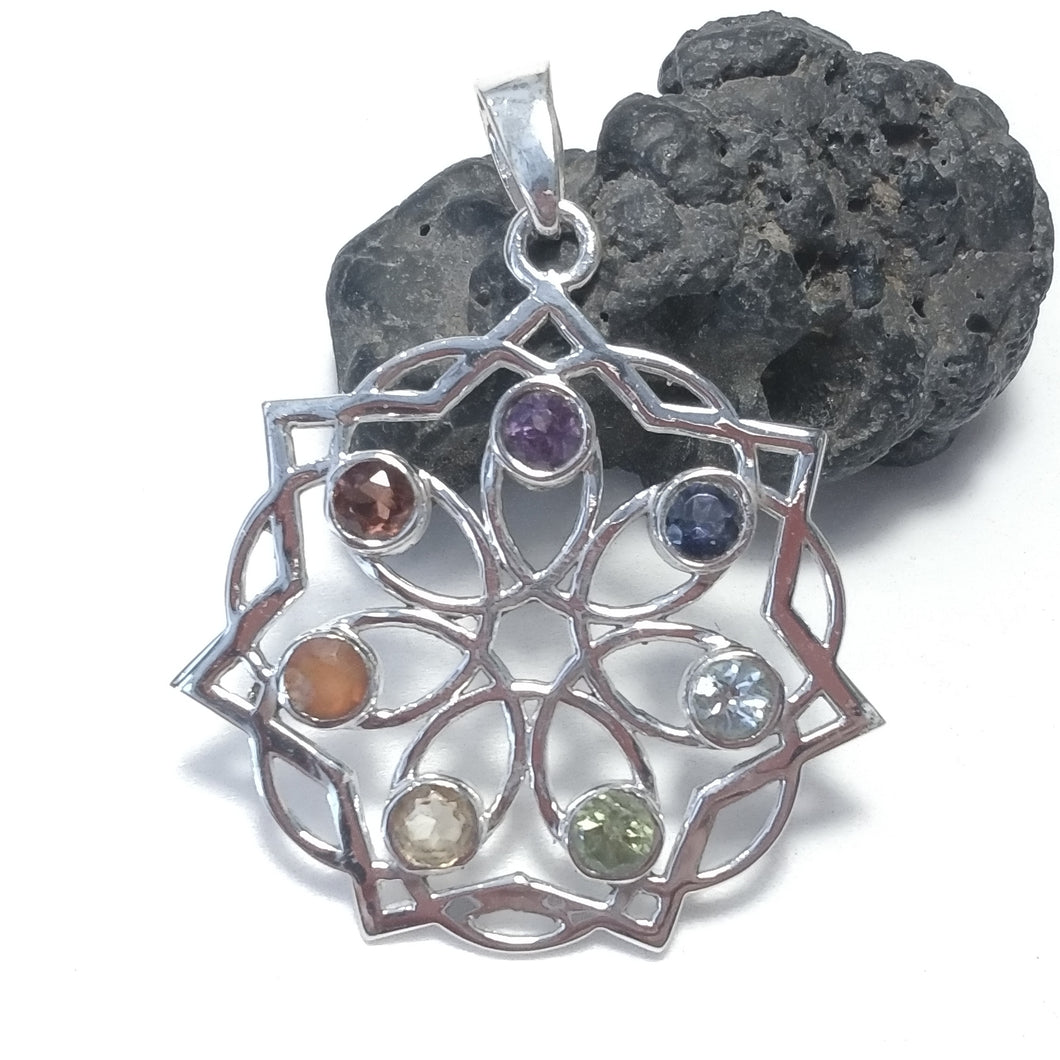 STONE PENDANT | 925 silver with CHAKRA stones | SILVER JEWELLERY