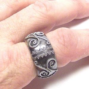 Anello in argento 925 brunito - fede filigrana