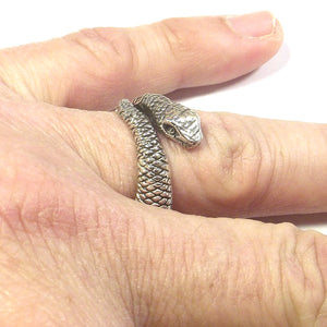 Anello in argento 925 a forma di SERPENTE brunito