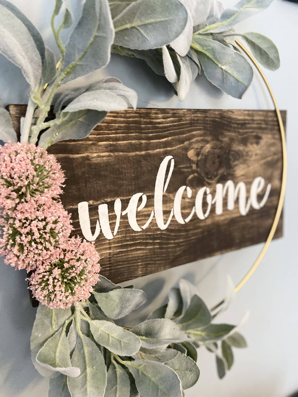 Wooden Welcome Wreath Sign