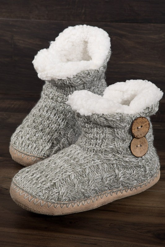 Grey Cable Knit  Slipper