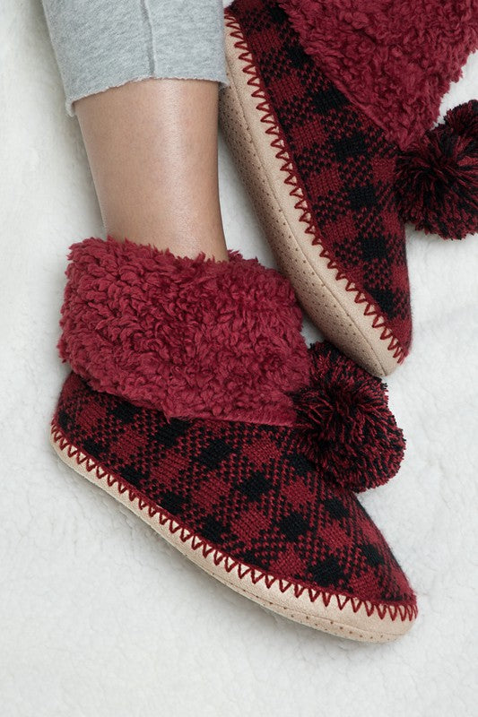Red Plaid Fuzzy Slipper