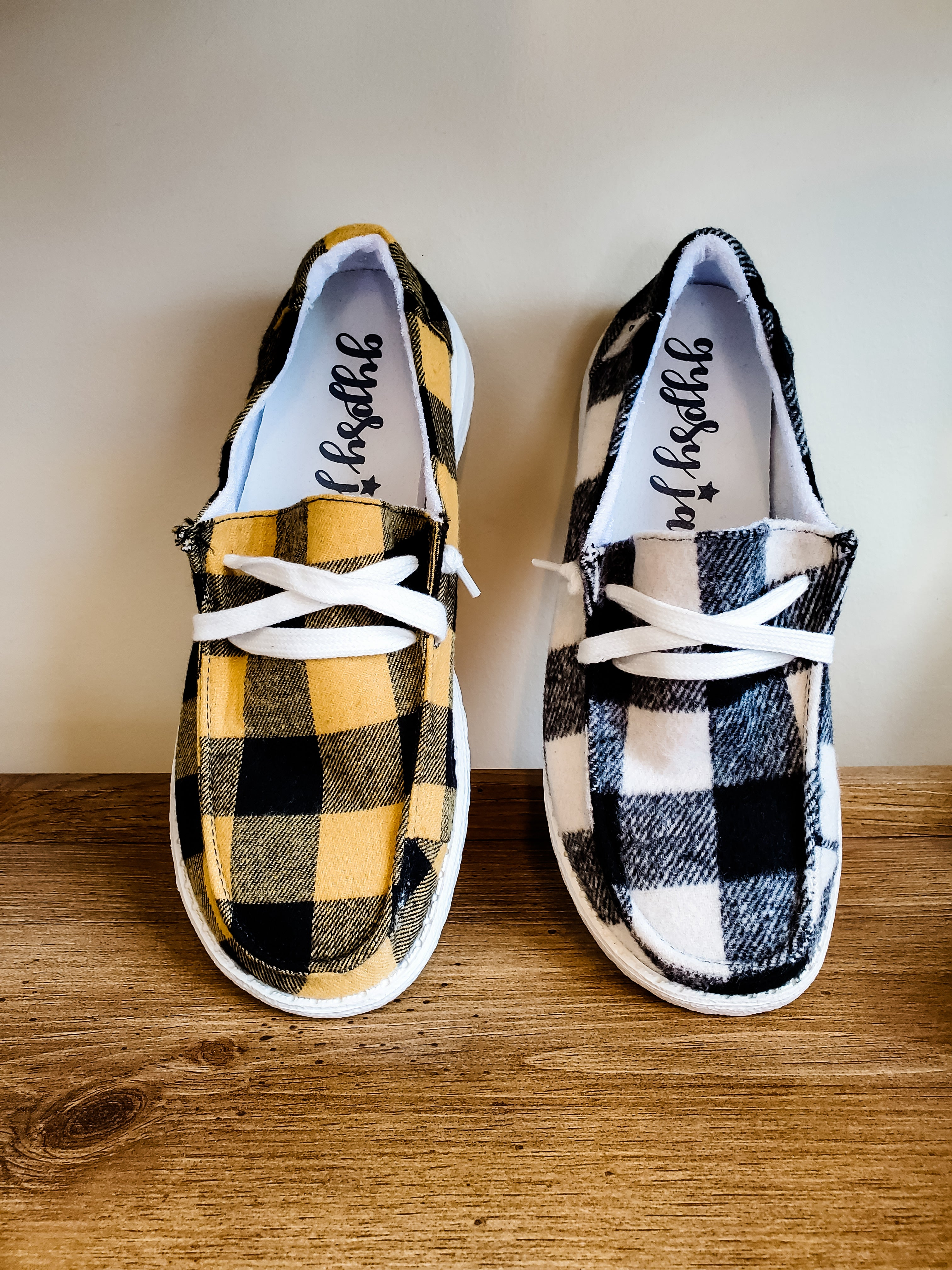 White Plaid Boat Shoe