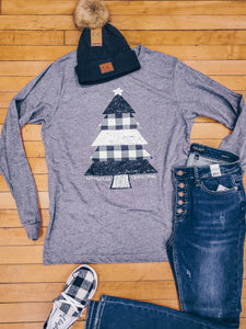 Farmhouse Christmas Tree LS Tee