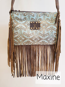 Fringed Leather LV Patch Crossbody