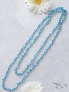 Deep Sky Blue Beaded Necklace