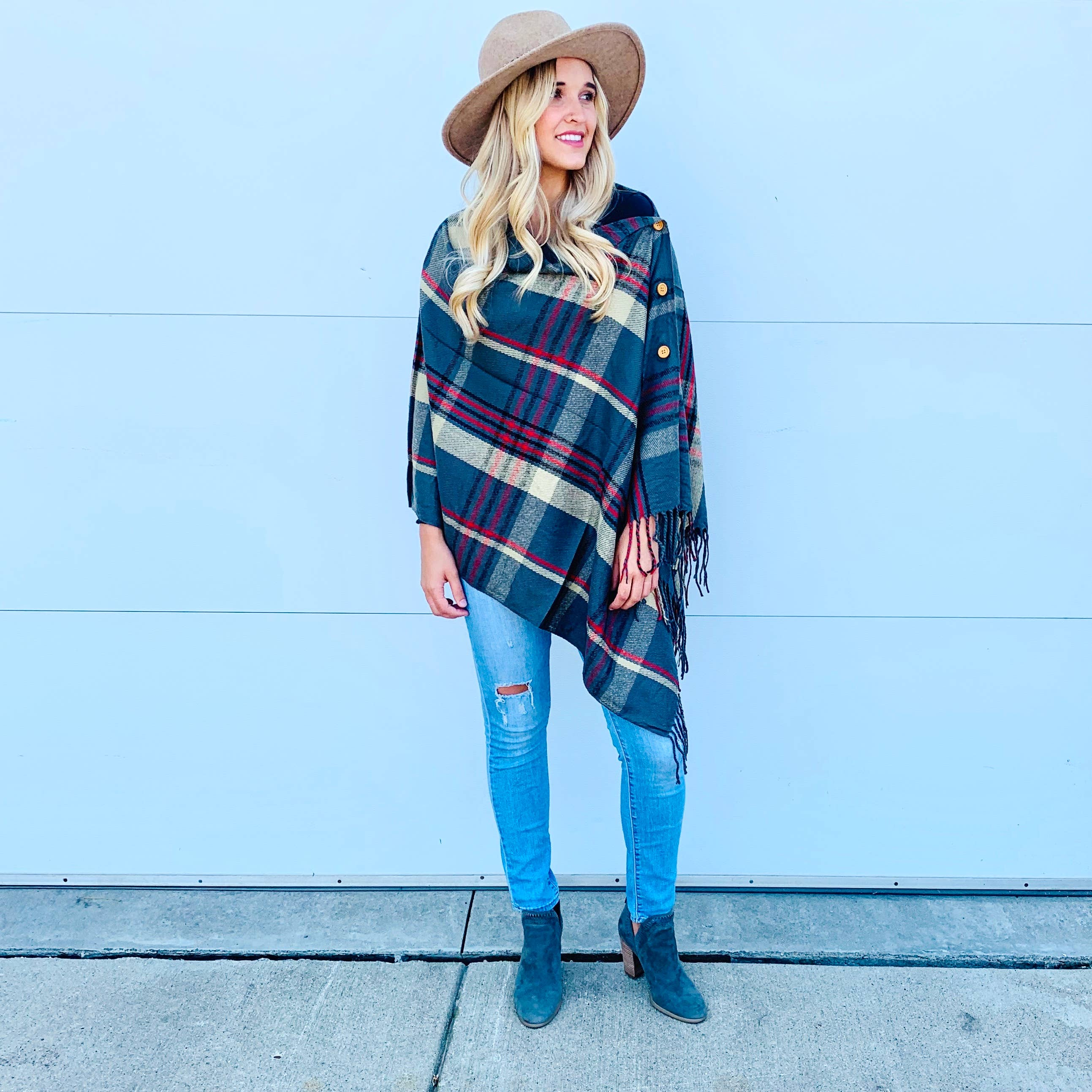 Plaid Button Shawl