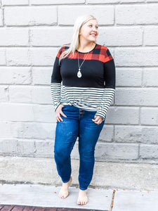 Plaid Contrast Top - Black