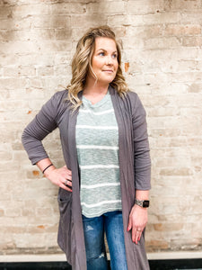 Grey 3/4 Sleeve Everyday Cardigan