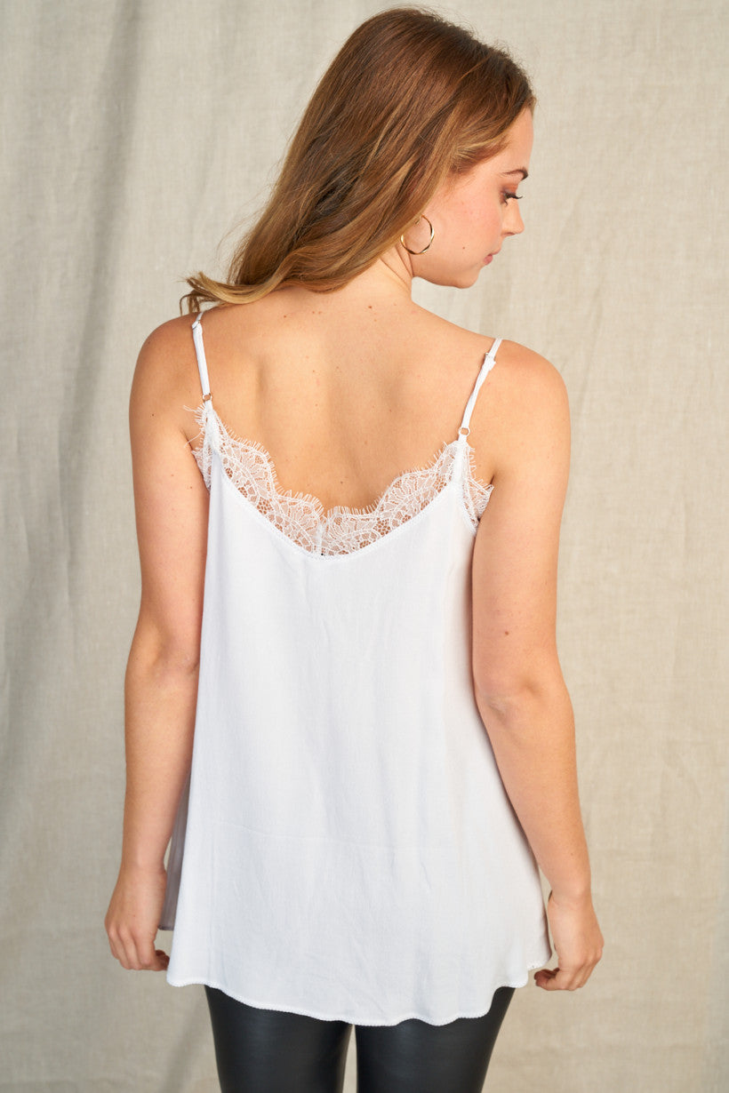 White Lace Trim Cami