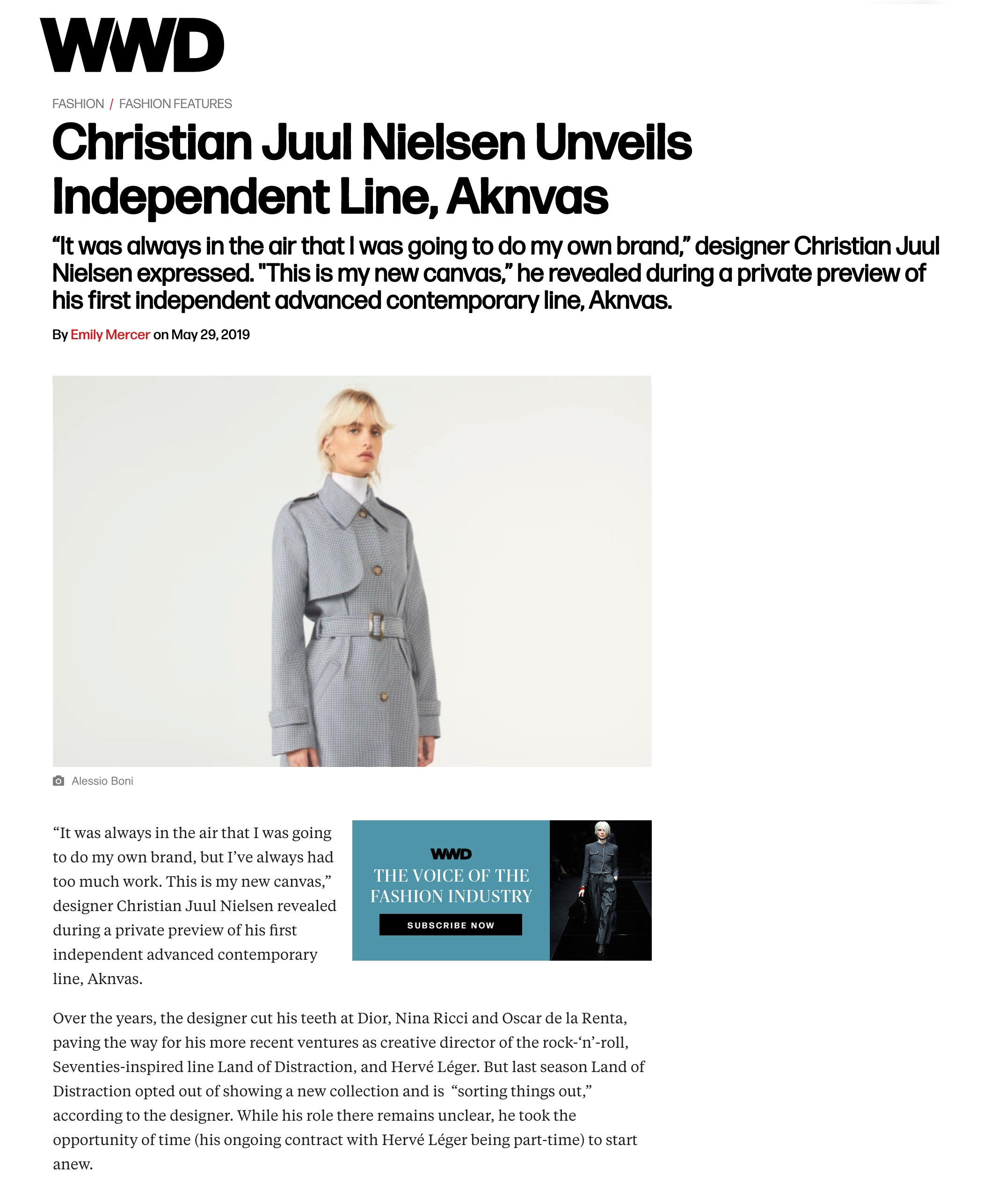 "WWD, ""Christian Juul Nielsen Unveils Independent Line, Aknvas"" by Emily Mercer"