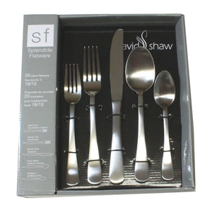 David Shaw Brushed Stainless Flatware 20pc. set