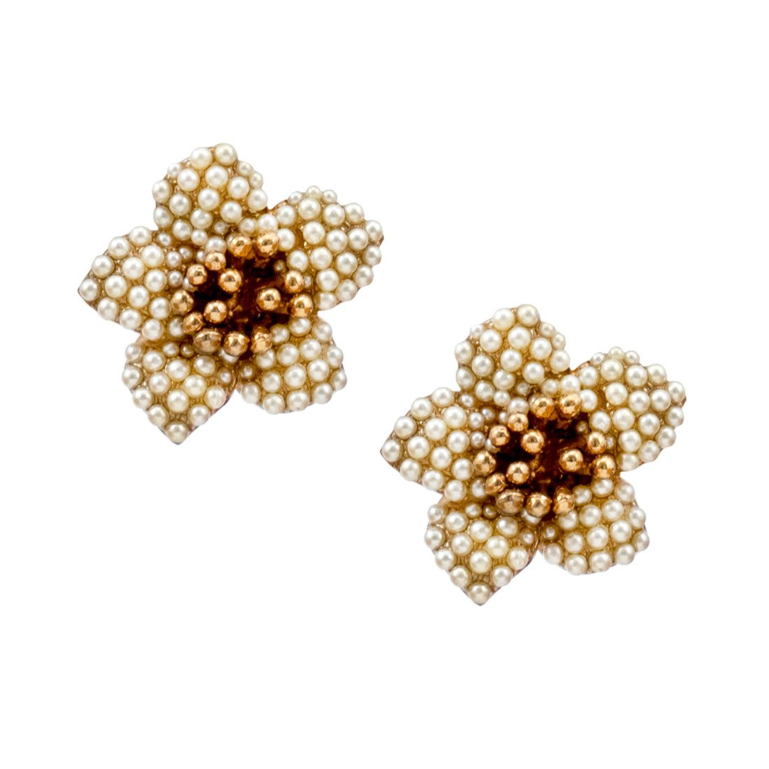 Pearl Blossom Clip-On Earrings