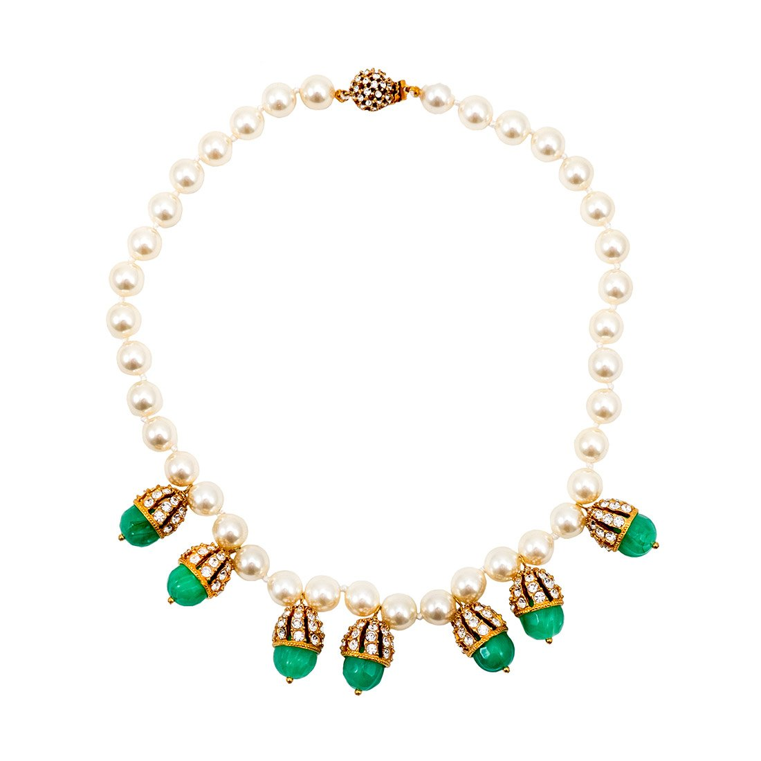 Pearl & Encrusted Green Stone Necklace