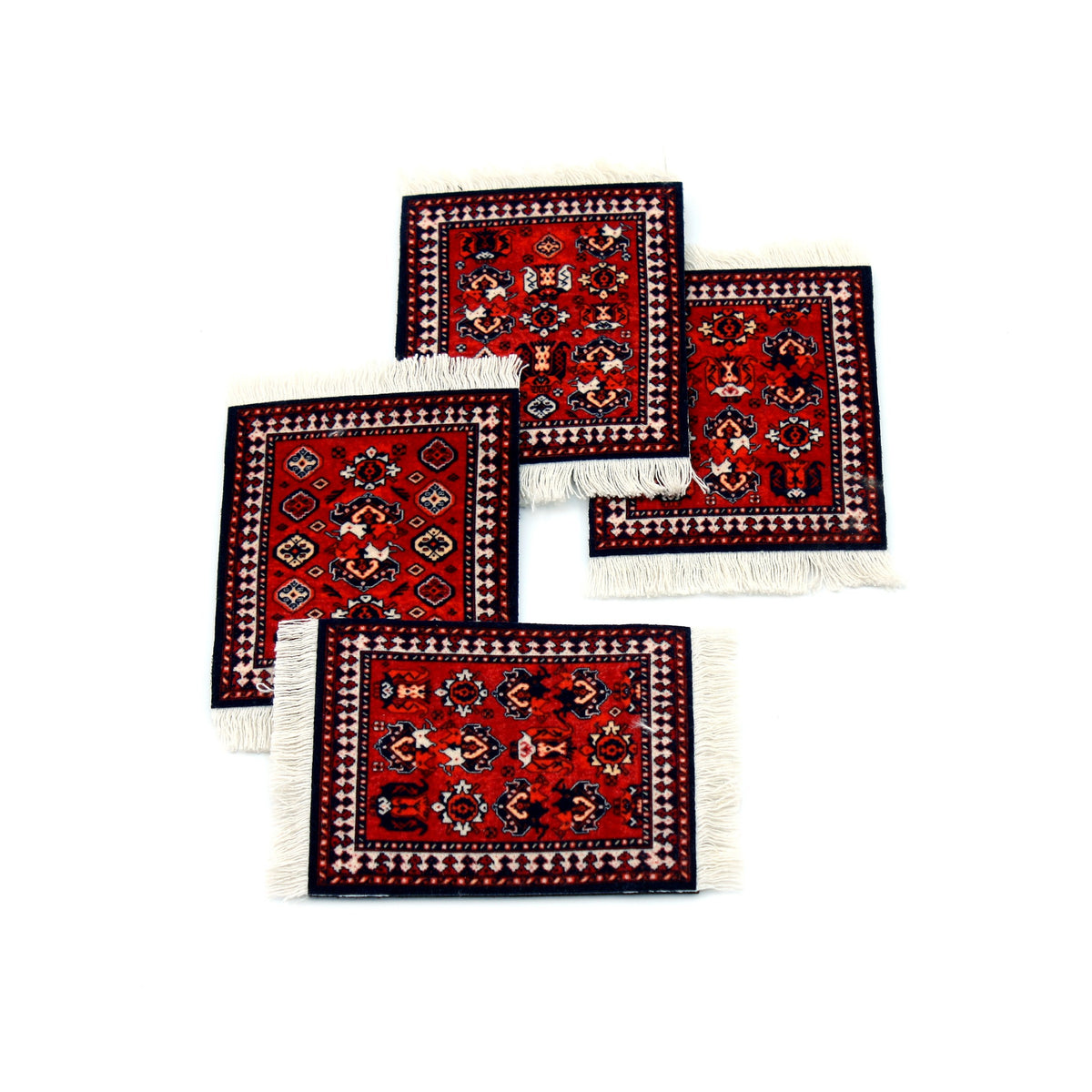 Early Turkmen Rug Coaster Set