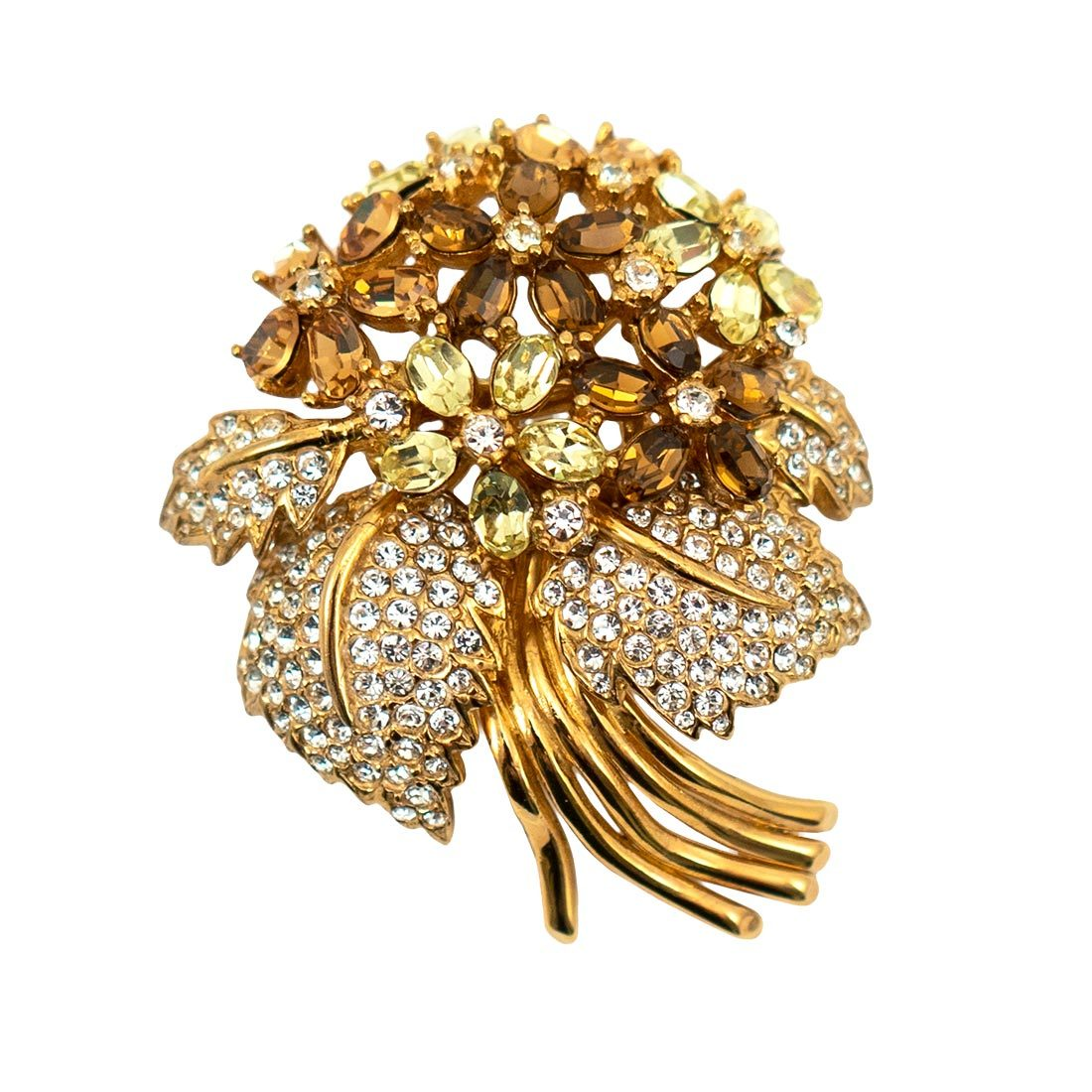 Crystal Encrusted Flower Brooch