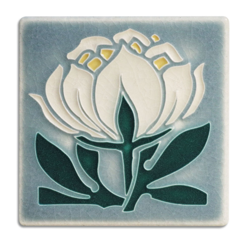 Small Grey Blue Peony Tile