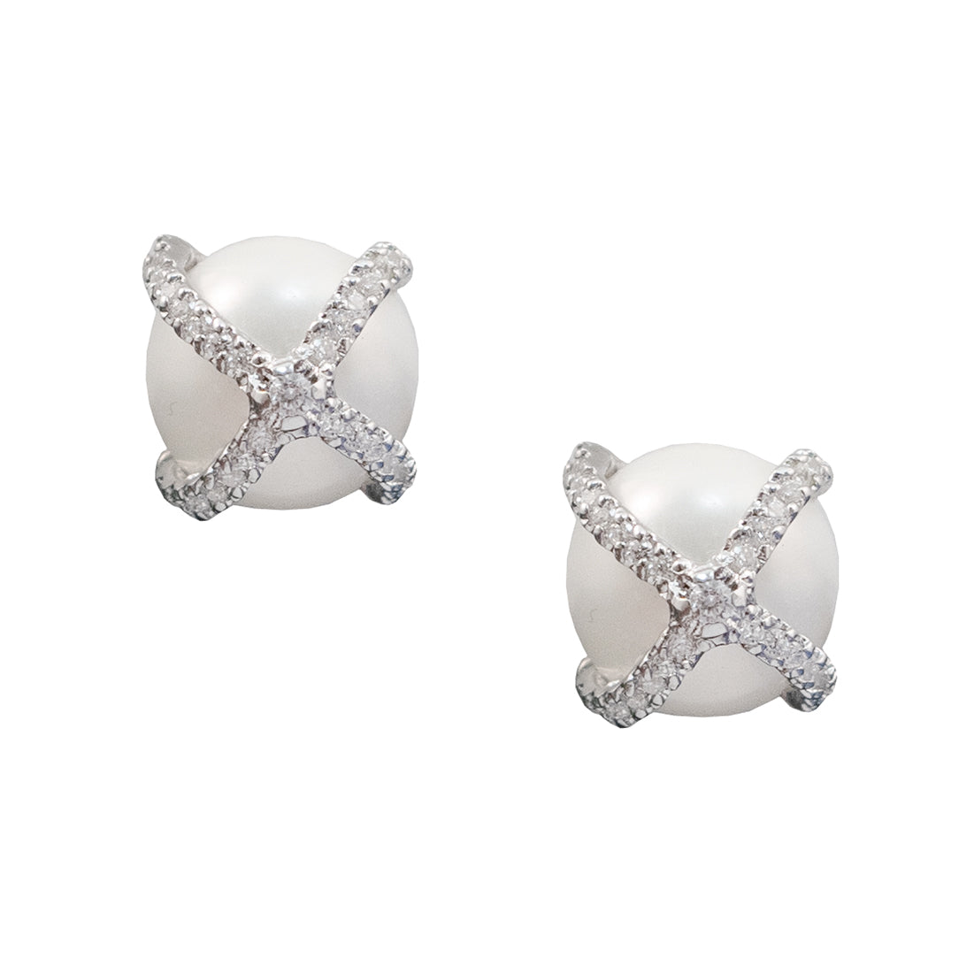 Pearl & Lace Pave Clip-On Earrings
