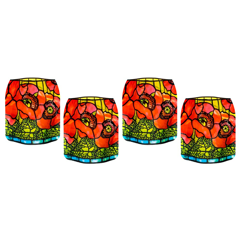 Tiffany Poppies Expandable Luminary Set