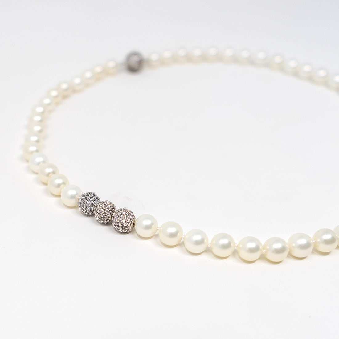 Pave Encrusted Pearl Necklace