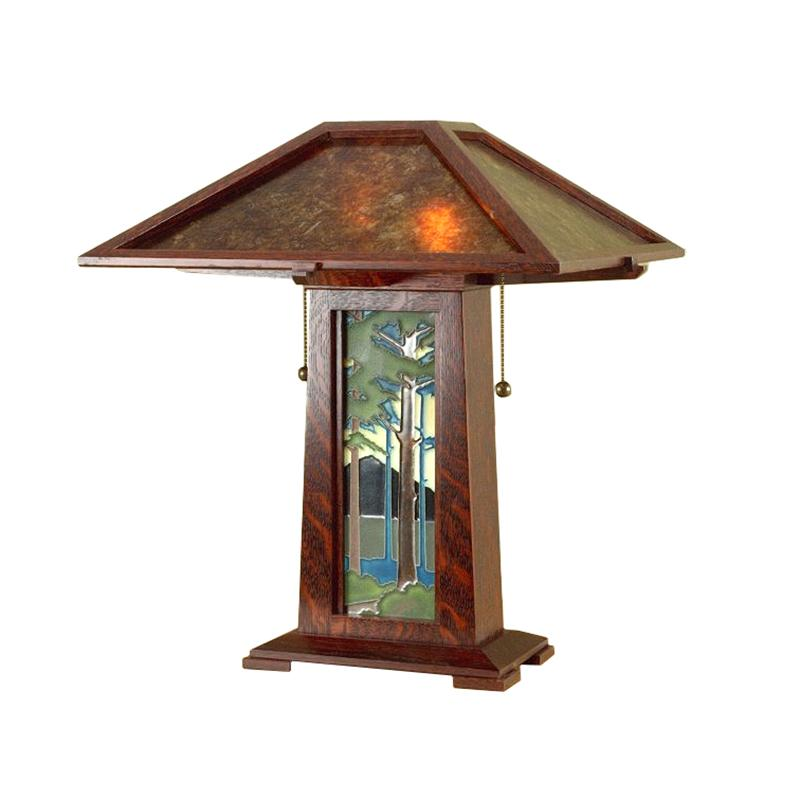 Arts and Crafts Pine Landscape Table Lamp