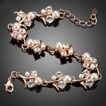 Load image into Gallery viewer, Cubic Zirconia Pearl Flower Bracelet - pearlsnlucent.com