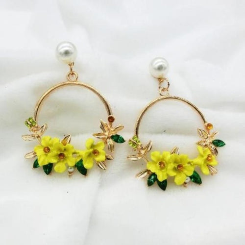 Flower Drop Pearl Earrings - pearlsnlucent.com