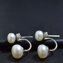 Load image into Gallery viewer, Freshwater Double Pearl Earrings White - pearlsnlucent.com
