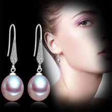 Load image into Gallery viewer, Freshwater Pearl Dangle Earrings Purple - pearlsnlucent.com
