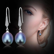 Load image into Gallery viewer, Freshwater Pearl Dangle Earrings Black - pearlsnlucent.com