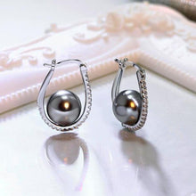 Load image into Gallery viewer, Oval Hoop Grey Pearl Earrings - pearlsnlucent.com