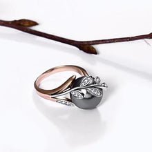 Load image into Gallery viewer, Rose Gold Grey Pearl Ring & Earrings Set - pearlsnlucent.com