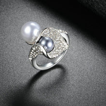 Load image into Gallery viewer, Grey Pearl Cocktail Ring Silver - pearlsnlucent.com