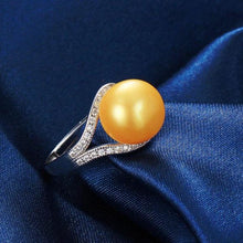 Load image into Gallery viewer, Freshwater Pearl Ring Dazzling Gold - pearlsnlucent.com