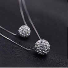 Load image into Gallery viewer, Anenjery Silver Color Double Layer Shiny CZ Zirconia Crystal Lucky Ball Pendant Necklace For Women Gift collares S-N58 - pearlsnlucent.com