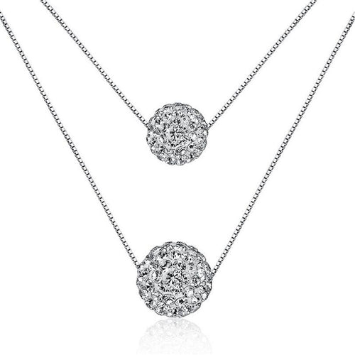 Anenjery Silver Color Double Layer Shiny CZ Zirconia Crystal Lucky Ball Pendant Necklace For Women Gift collares S-N58 - pearlsnlucent.com