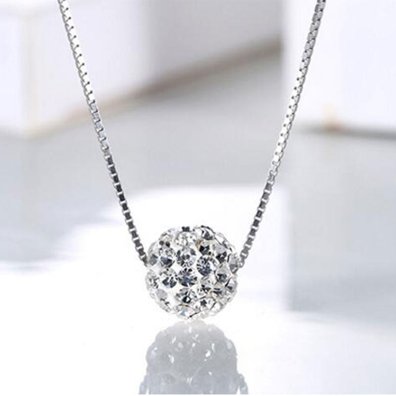 S925 Crystal Ball Necklace - pearlsnlucent.com