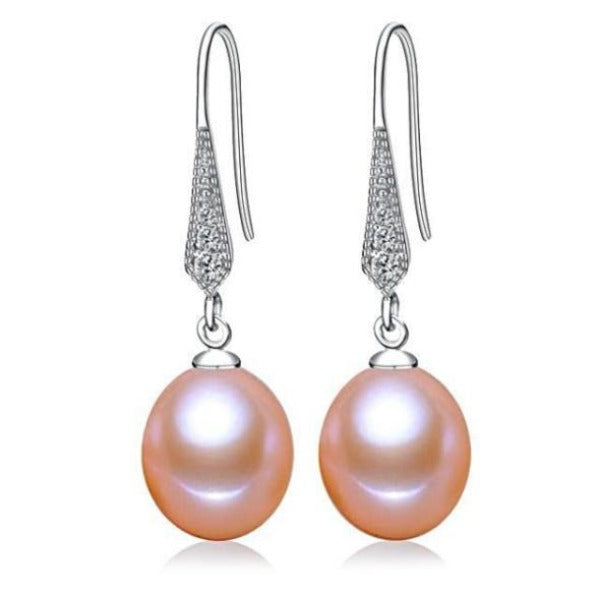 Freshwater Pearl Dangle Earrings Pink - pearlsnlucent.com
