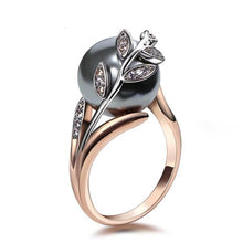 Load image into Gallery viewer, Rose Gold Grey Pearl Ring - pearlsnlucent.com