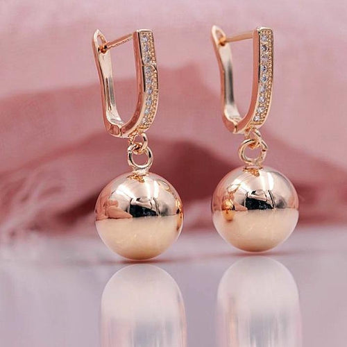 Rose Gold Ball Earrings - pearlsnlucent.com
