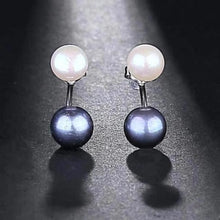 Load image into Gallery viewer, Freshwater Double Pearl Earrings Black - pearlsnlucent.com